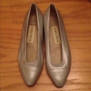 Nordstrom Silver Flats never worn, made in Italy
